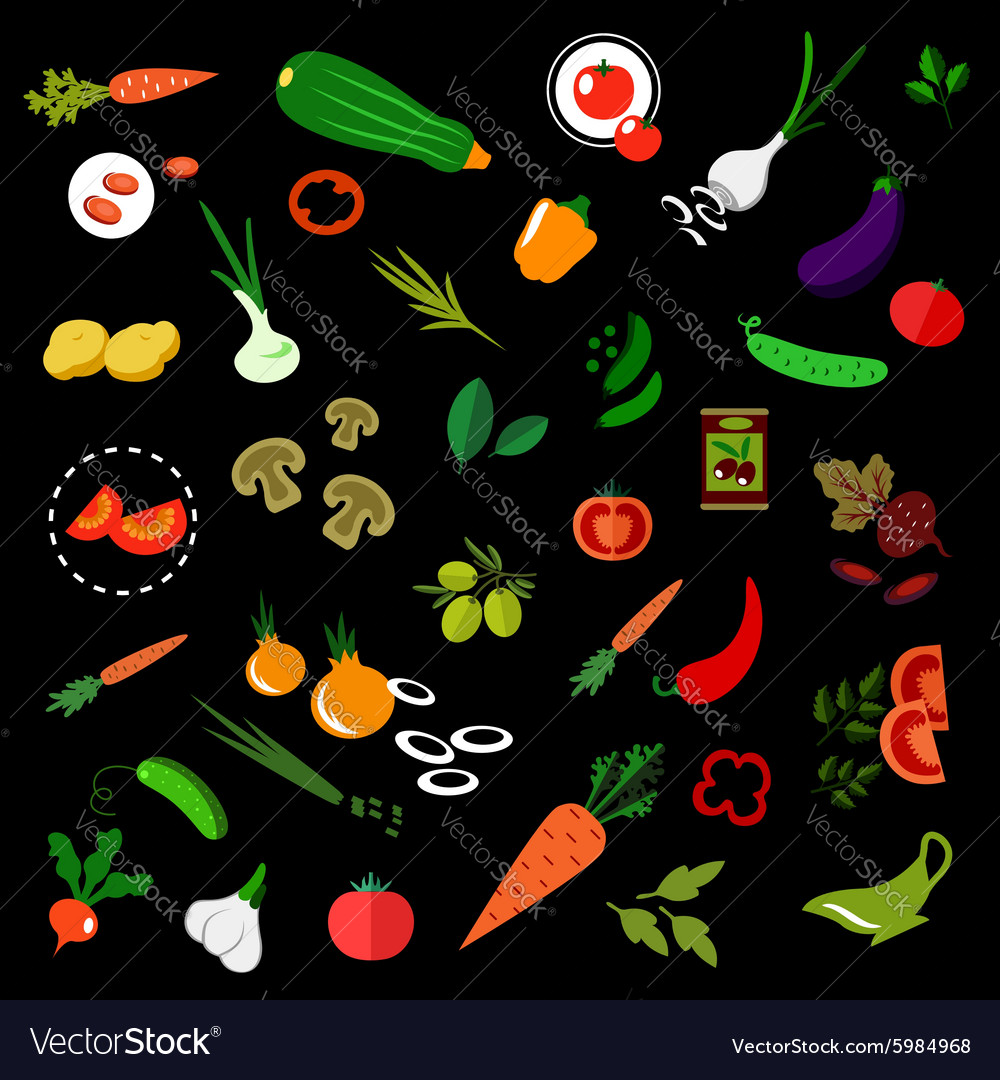 Flat vegetables icons with herbs and olives vector
