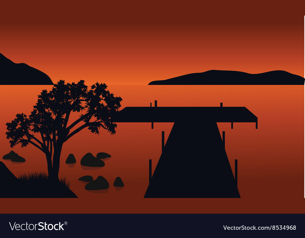 Pier and tree silhouette vector