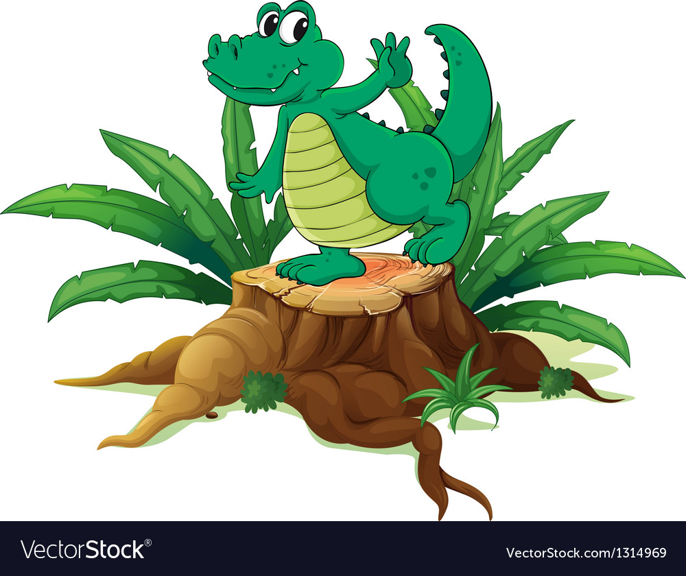 A playful crocodile above the wood vector