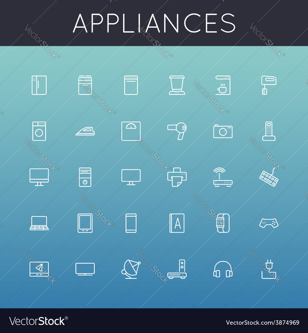 Appliances line icons vector