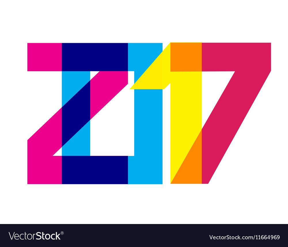 Colorful 2017 new year banner vector
