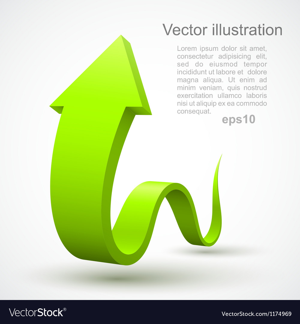 Green wavy arrow 3d vector
