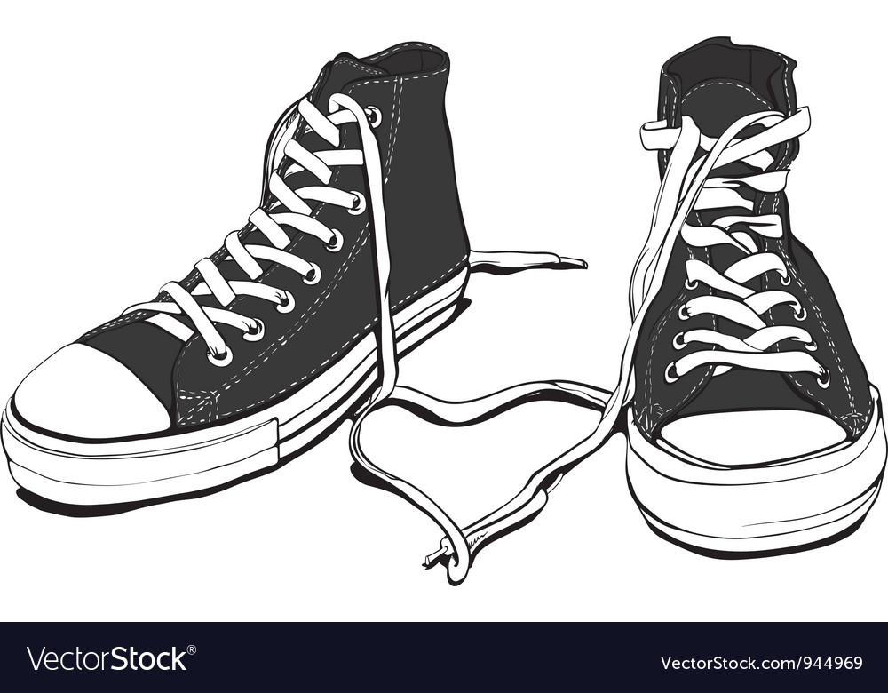 Sneakers with lovely heart vector