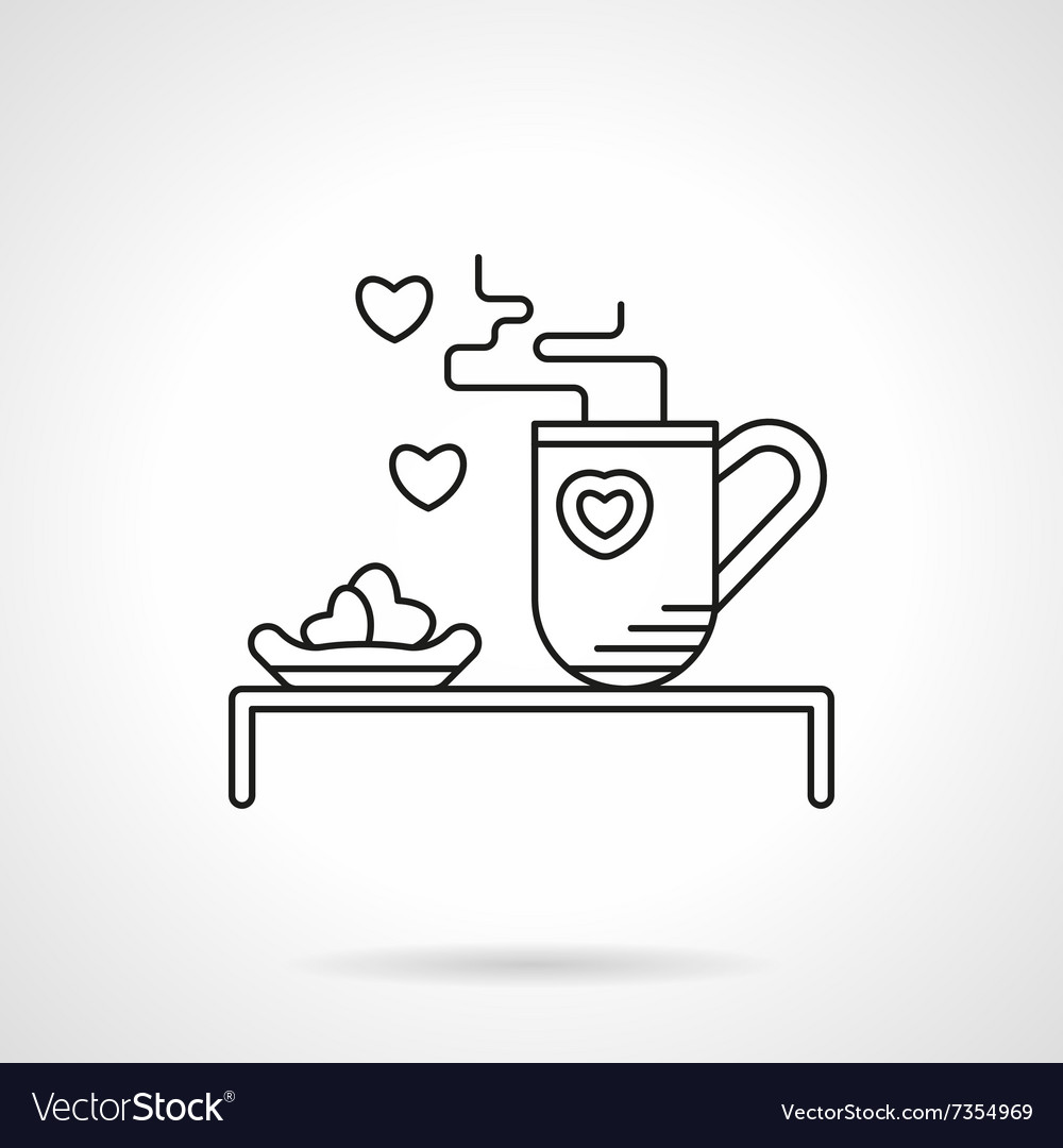 Tea for beloved flat line icon vector
