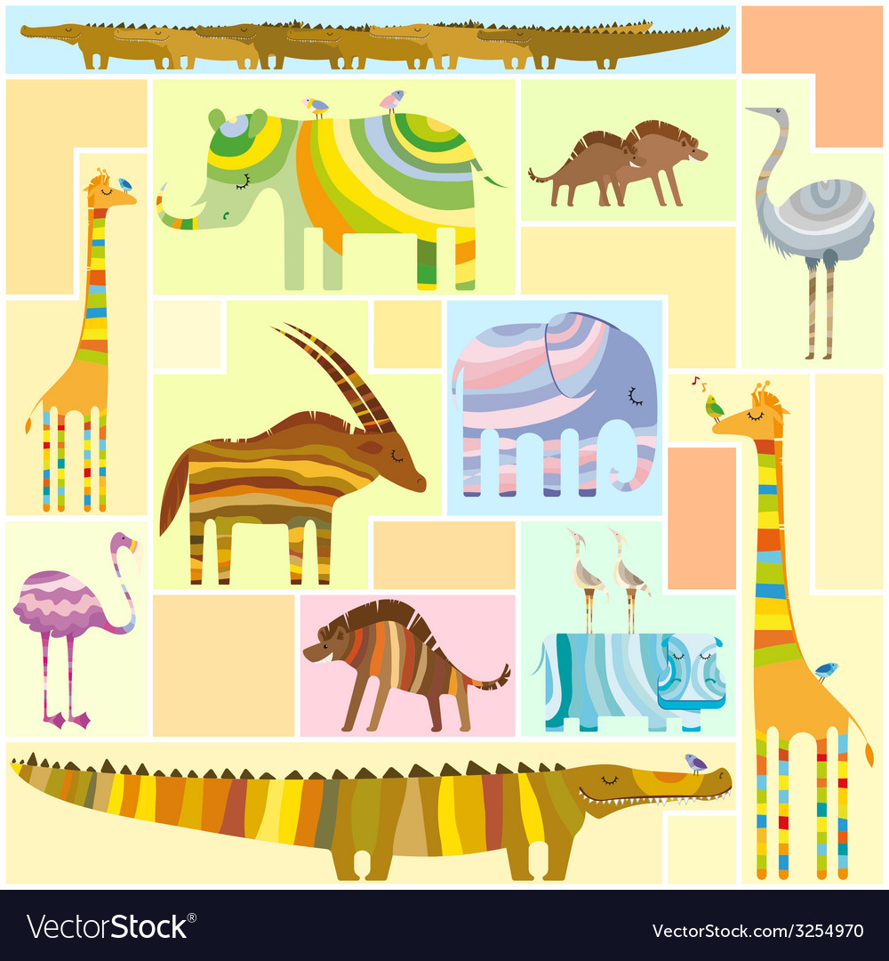 African animals tetris collage low color vector