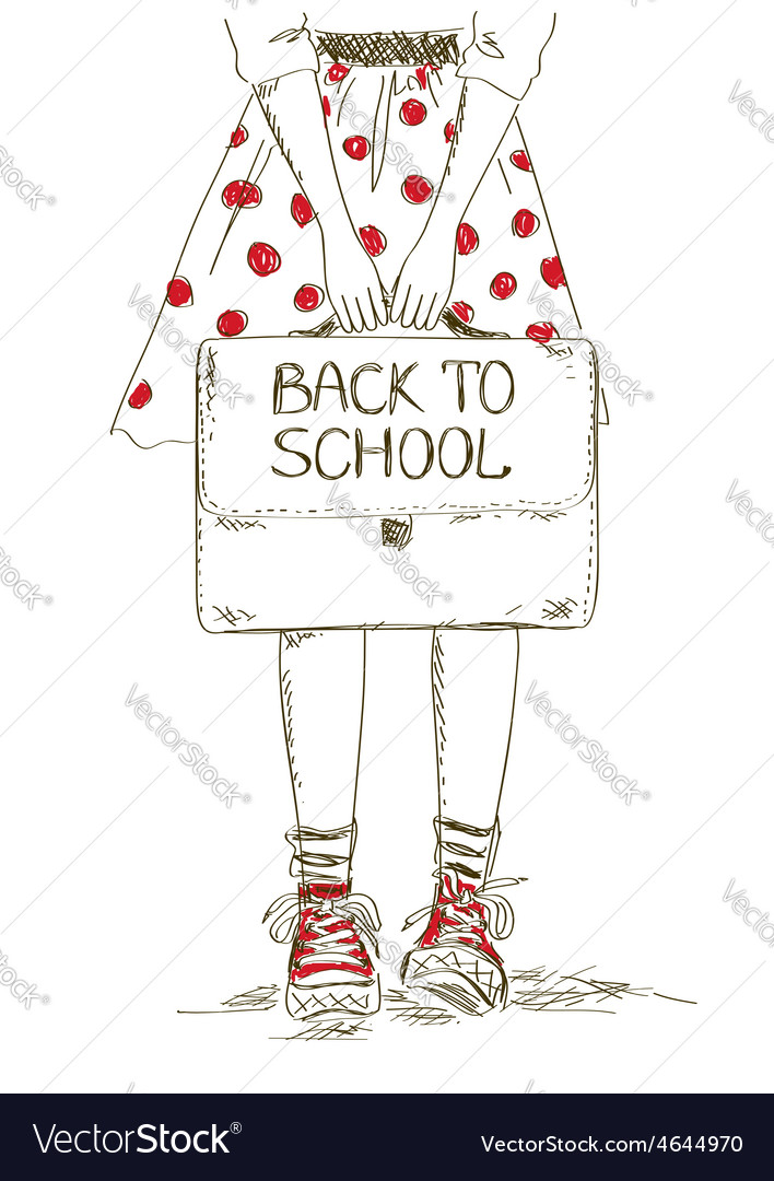 Back to school with girl vector