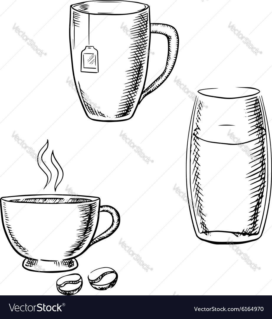 Cup of coffee tea and glass water sketches vector