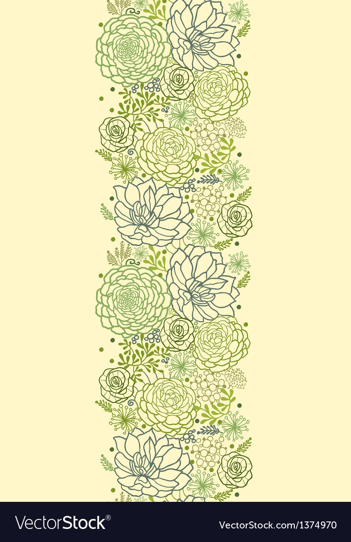 Green succulent plants vertical seamless pattern vector