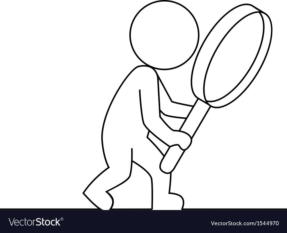 People examines through a magnifying glass vector