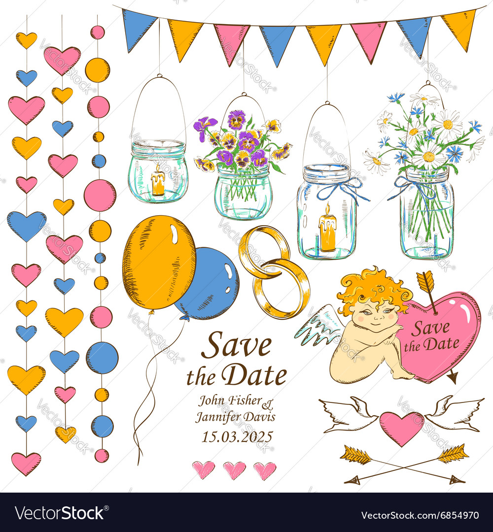Set of wedding decoration elements vector