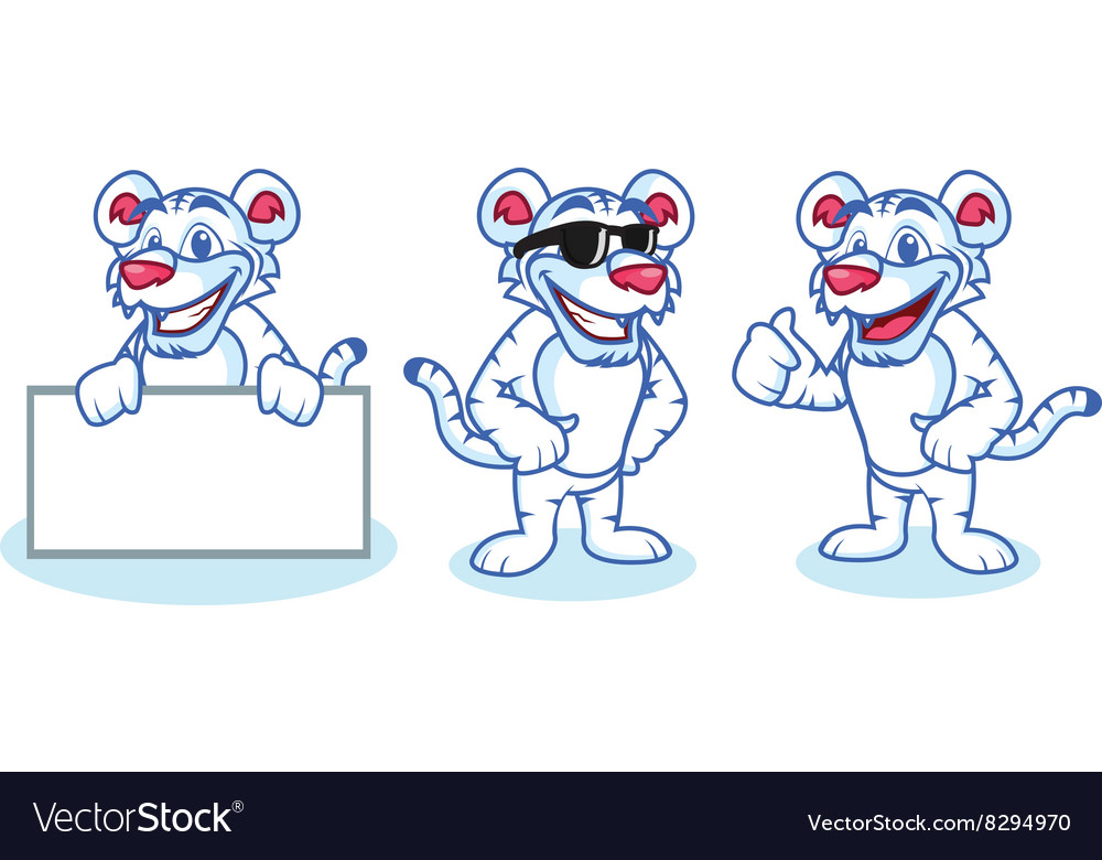 White tiger mascot happy vector