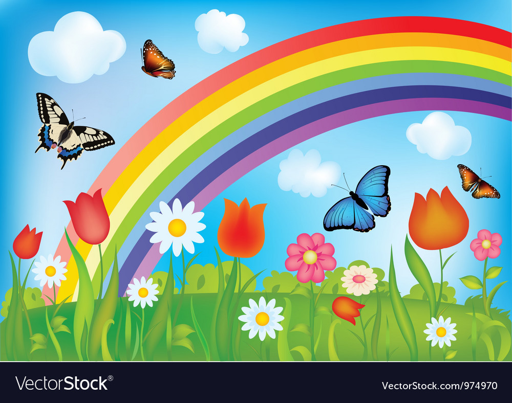 With butterflies rainbows and flowers vector