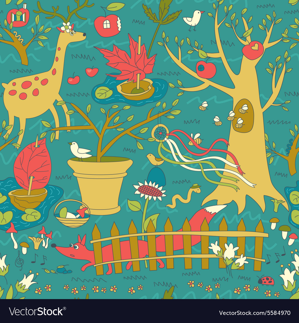 Wonderful spring garden seamless pattern vector