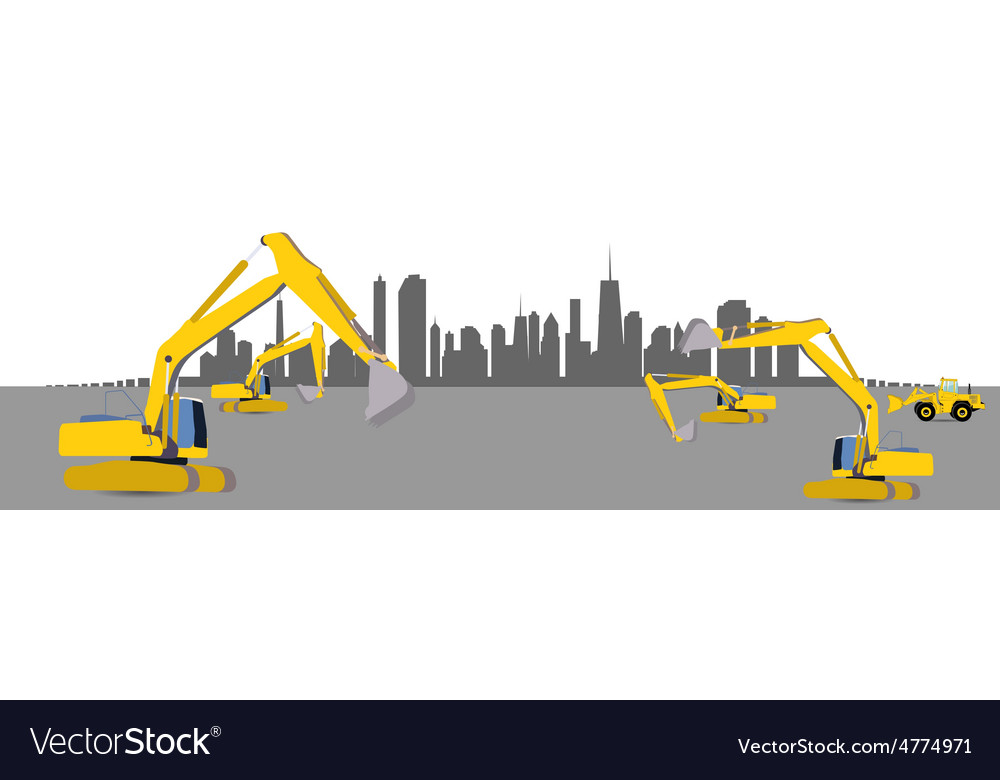 Construction machinery in the city vector