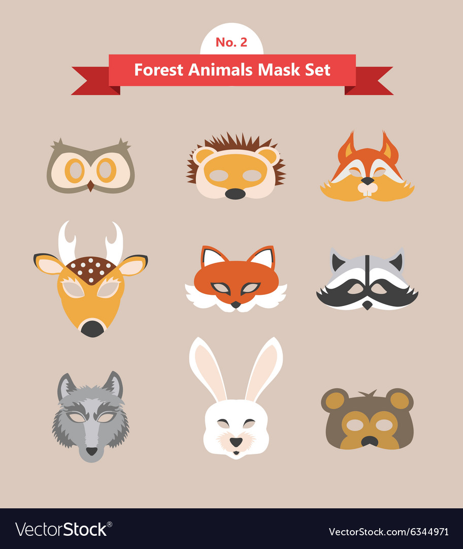 Set of animal masks set 2 forest animals vector