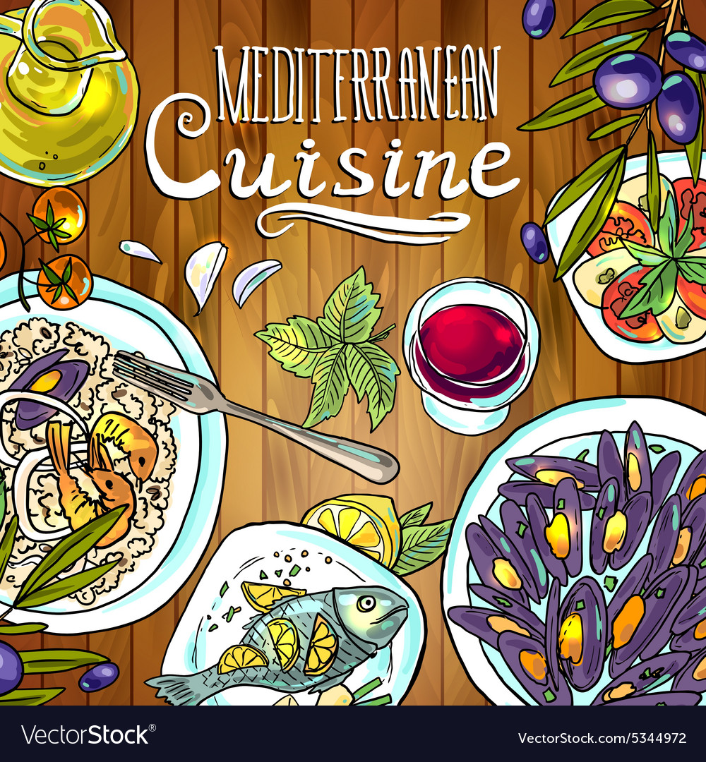 Beautiful handdraw mediterranean cuisine food on vector