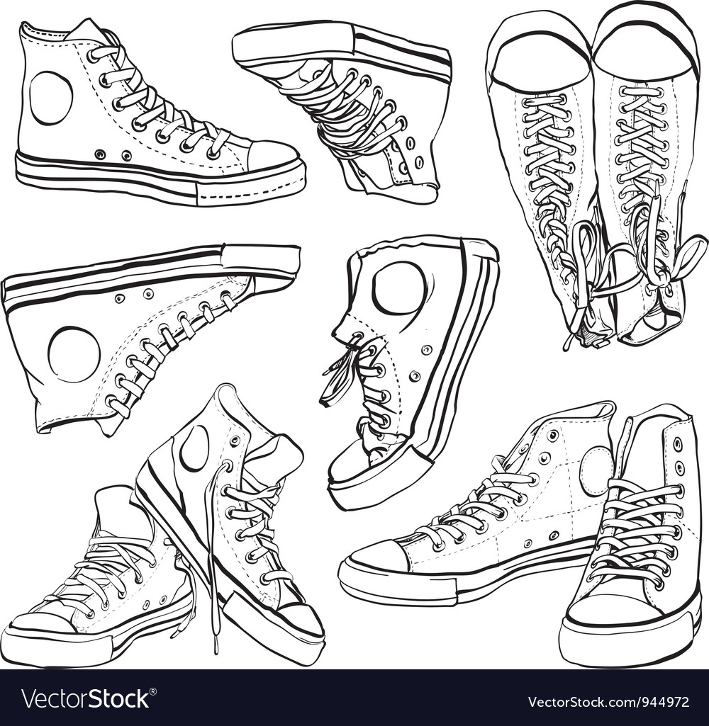 Black and white sneakers set vector