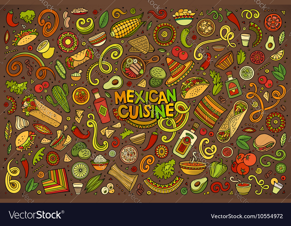 Doodle cartoon set of mexican food objects vector