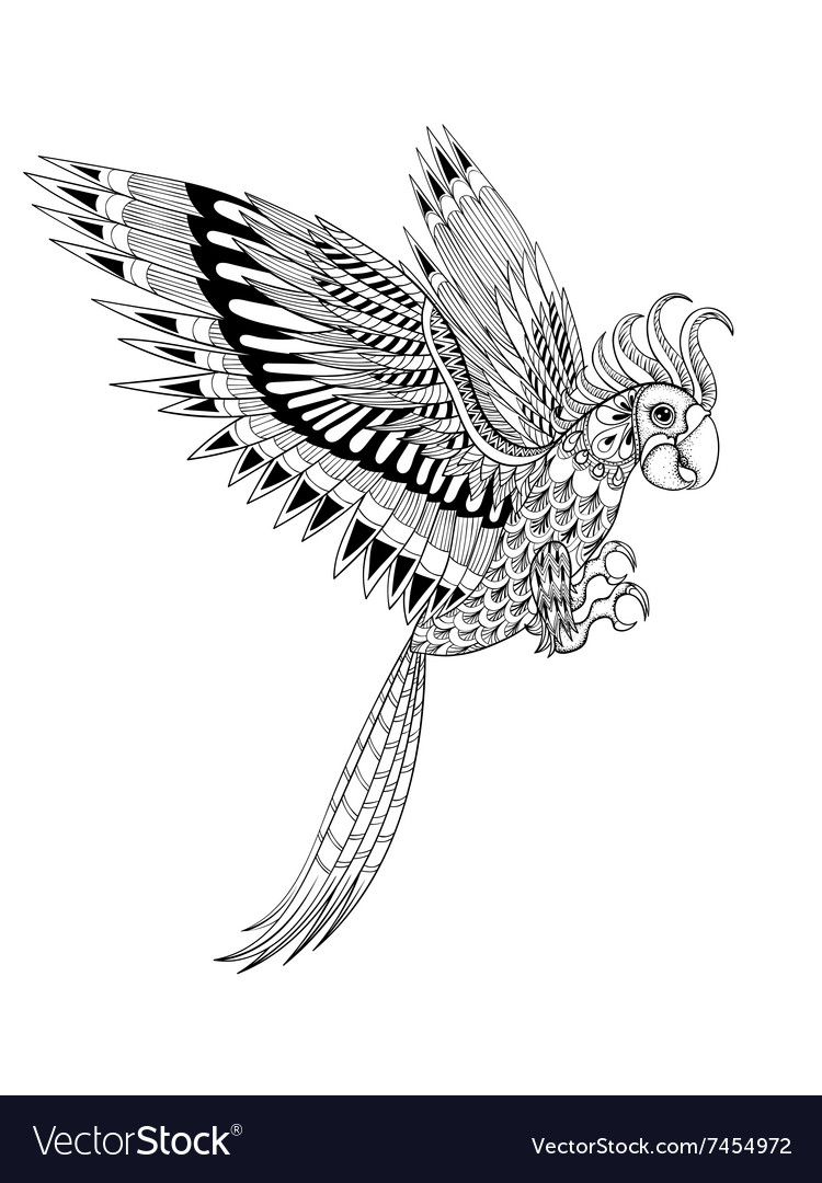 Hand drawn artistically ornamental tribal parrot vector