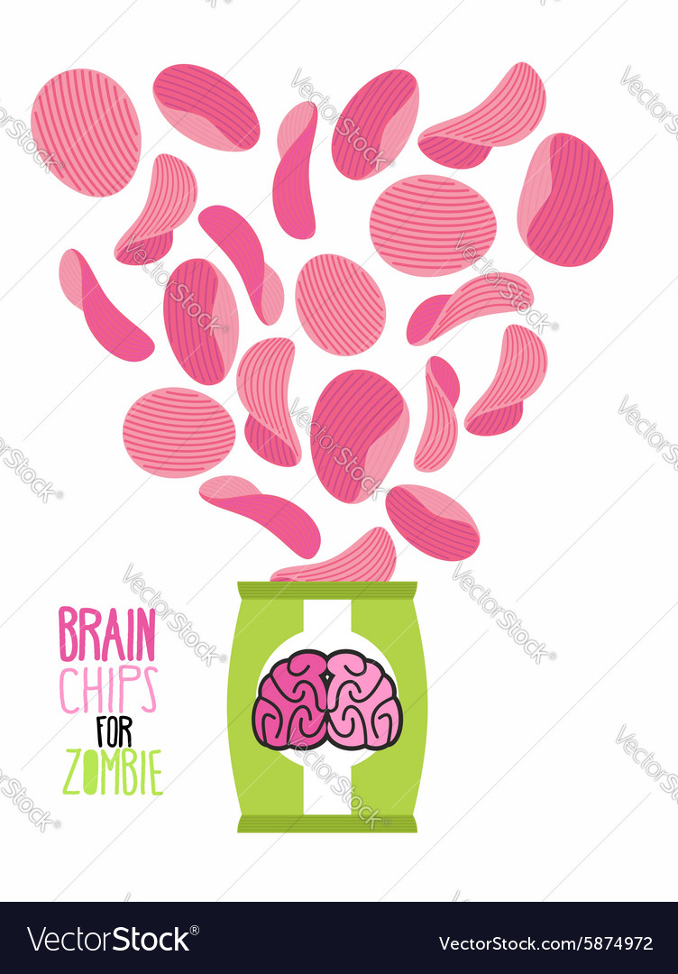 Potato chips taste brain special zombies chips vector