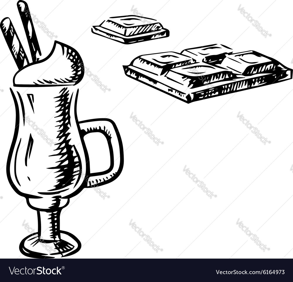 Irish coffee with waffle and chocolate bar vector