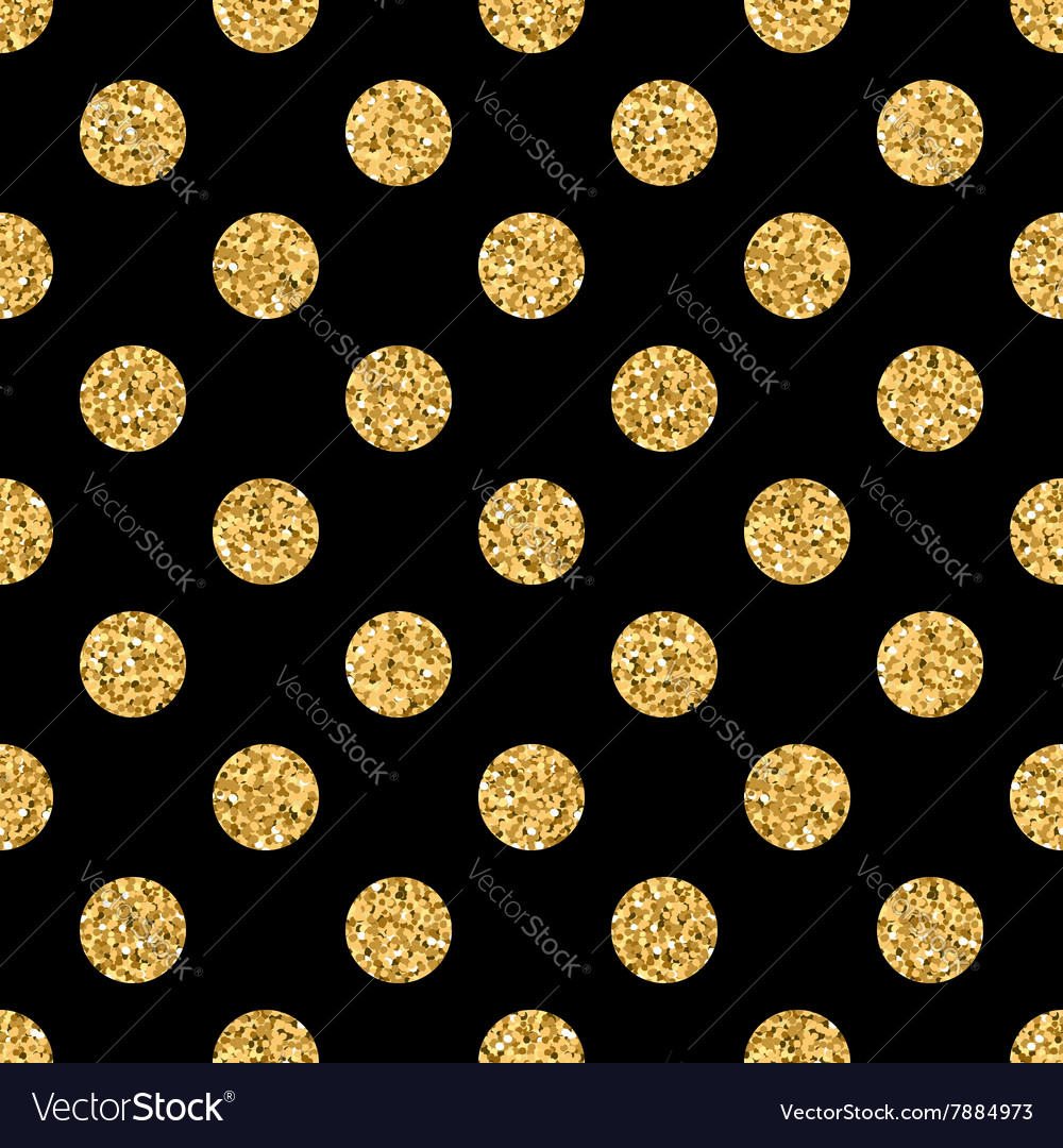 Polka dot big gold 1 black vector