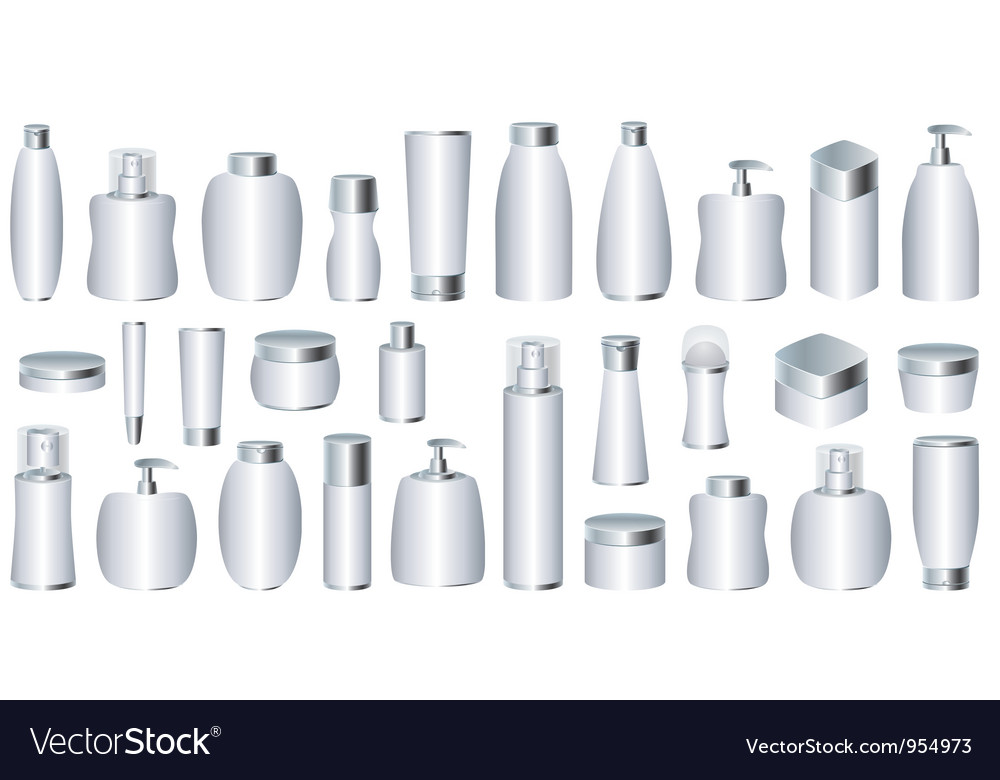 Set of silver cosmetic packages vector