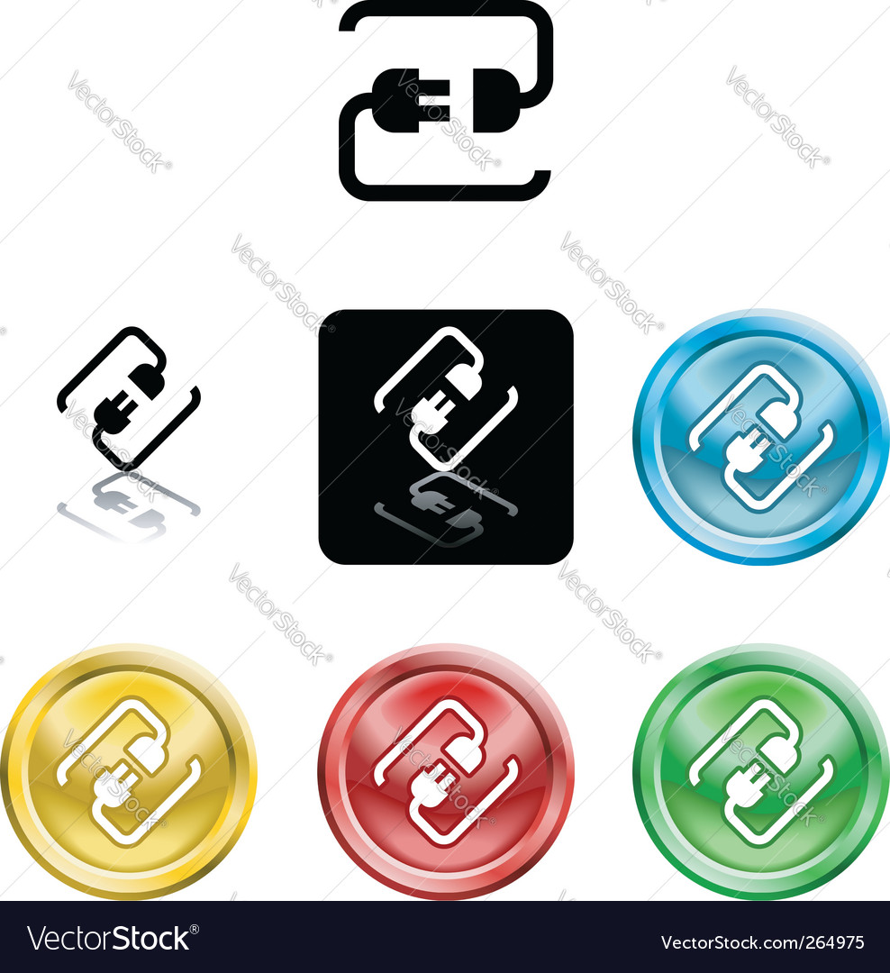 Connecting cable plug icon symbol vector