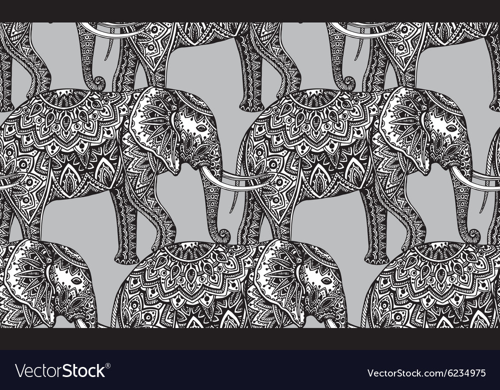 Seamless pattern with stylized ornamental vector