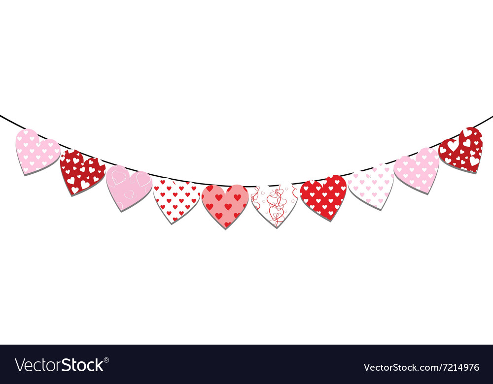 Bunting valentine decoration vector