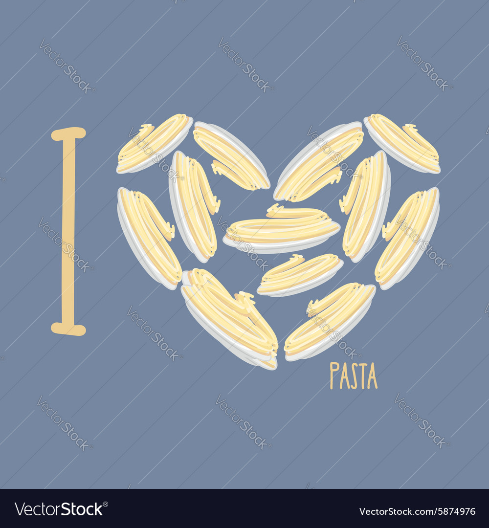 I love pasta symbol heart of plates with spaghetti vector