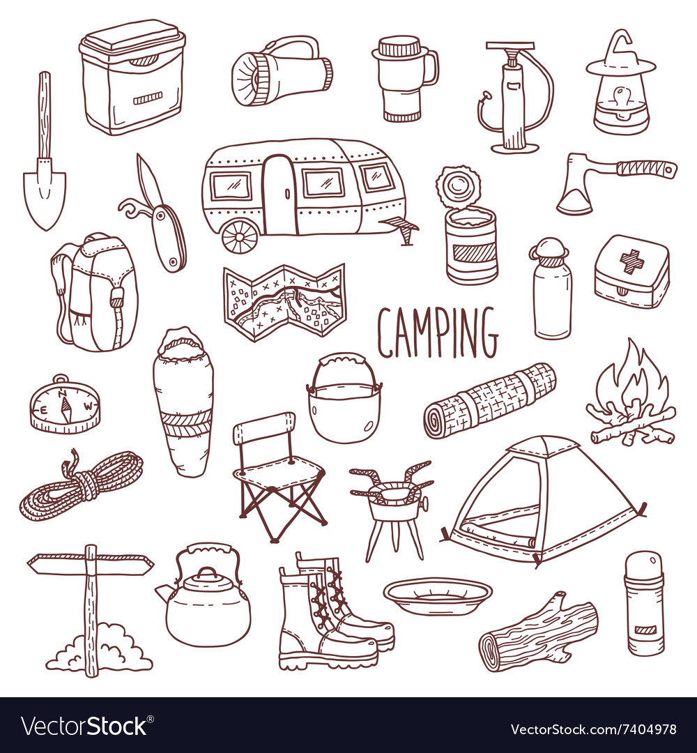 Camping hand drawn contour icon set vector