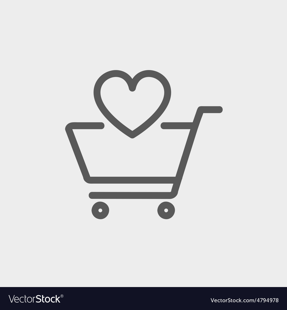 Shopping cart with heart thin line icon vector