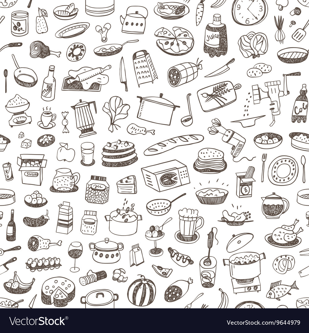 Cooking food seamless background vector