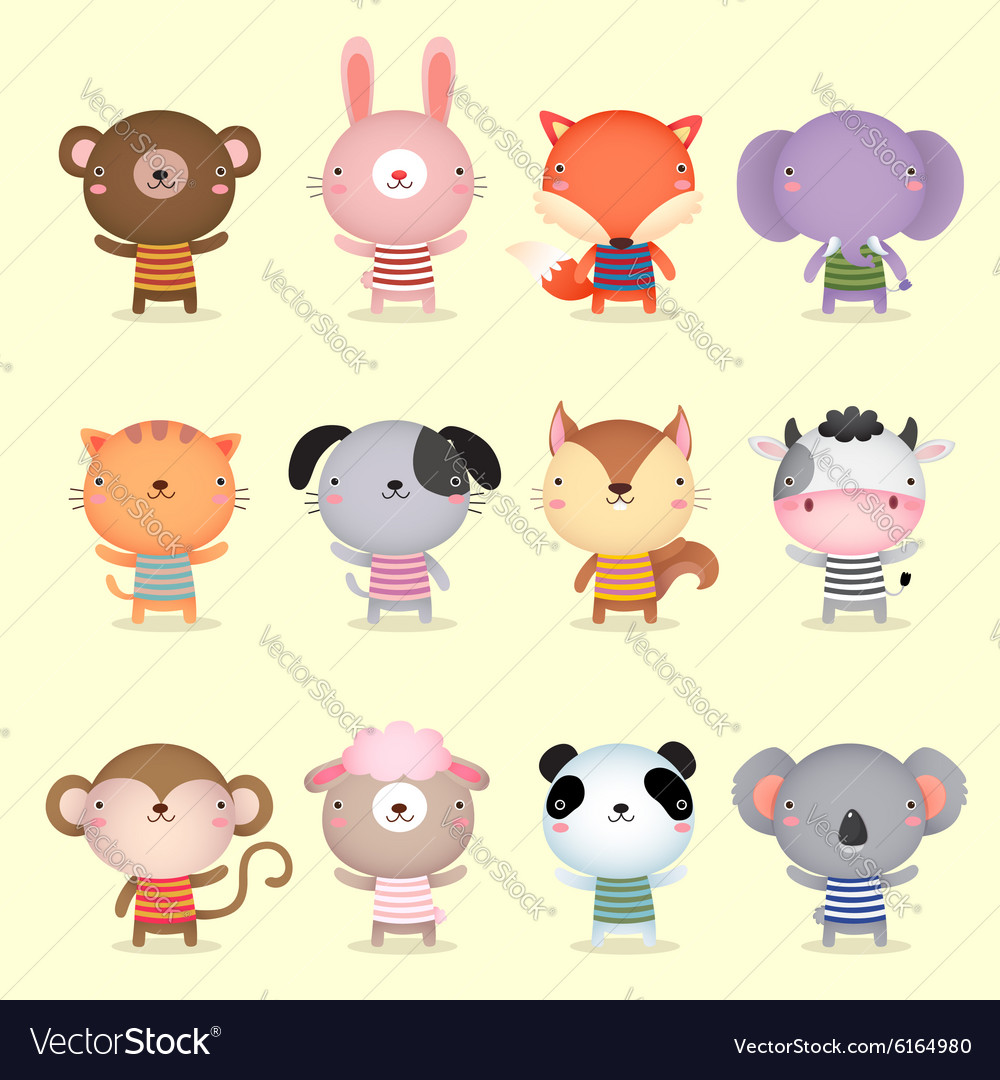 Collection of cute animals design vector