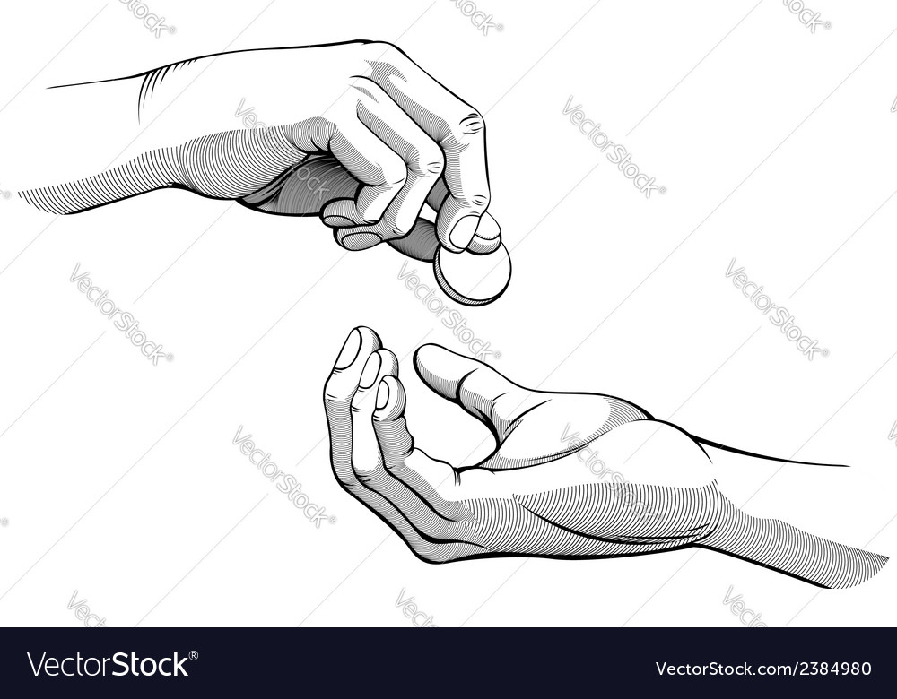 Hands giving receiving coin of money black white vector