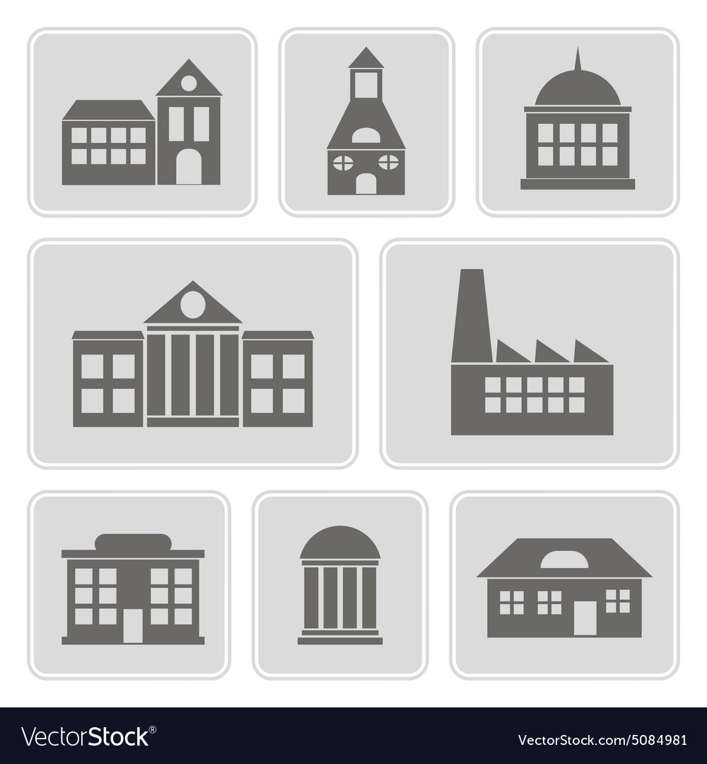 Monochrome icons with various city building vector