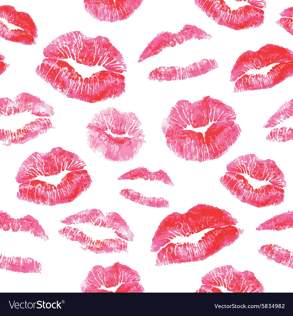Seamless pattern  red lips kisses prints vector