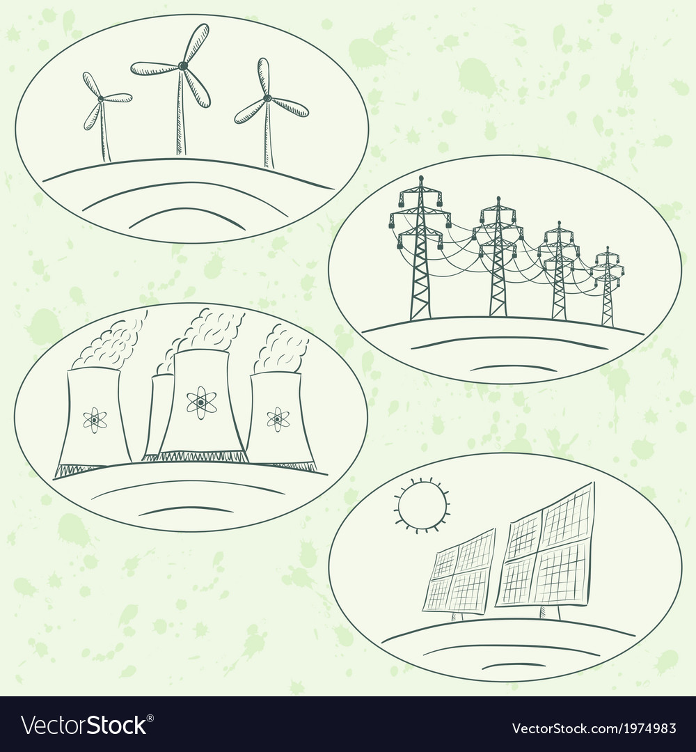 Power station energy green labels vector