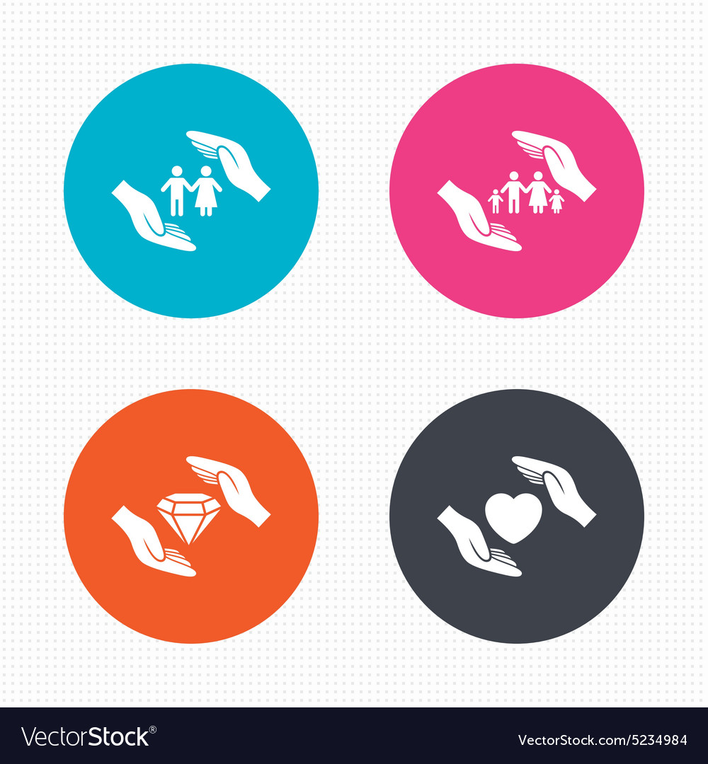 Hands insurance icons family lifeassurance vector