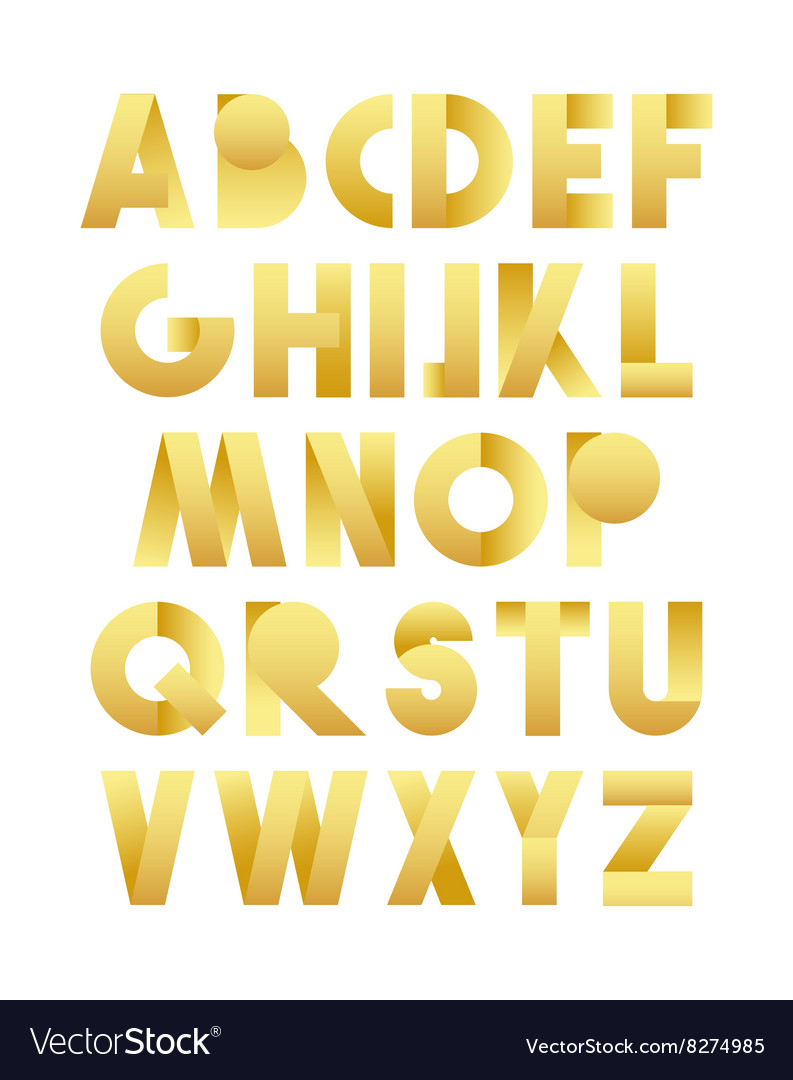Retro font in gold golden alphabet realistic vector