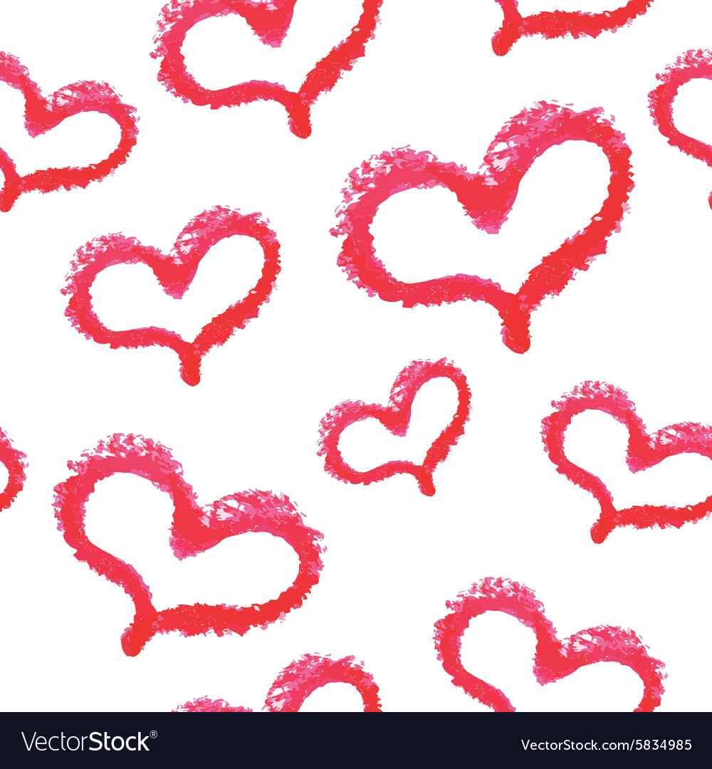 Seamless pattern  red lipstick hand drawn hearts vector