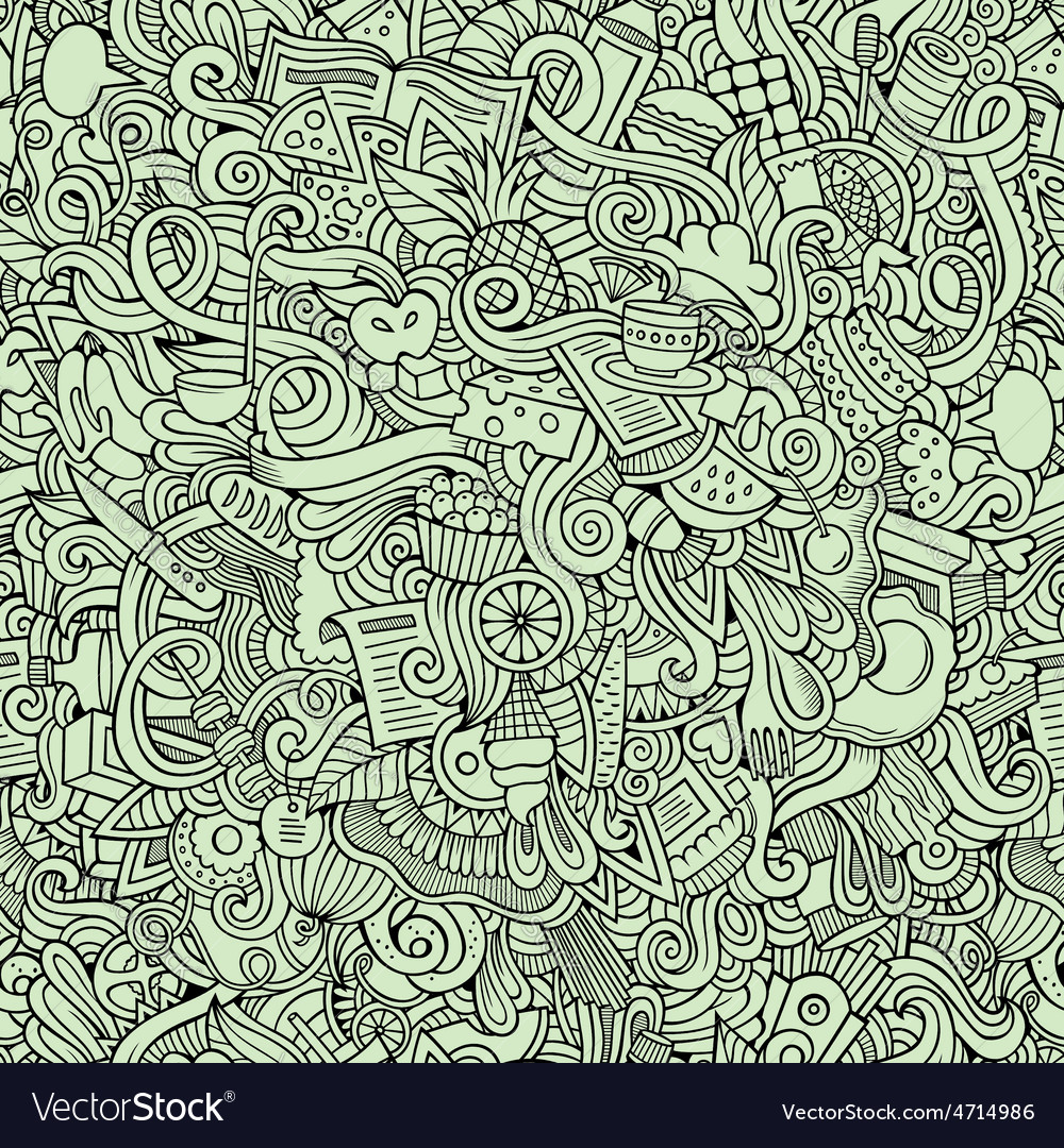 Cartoon doodles food seamless pattern vector