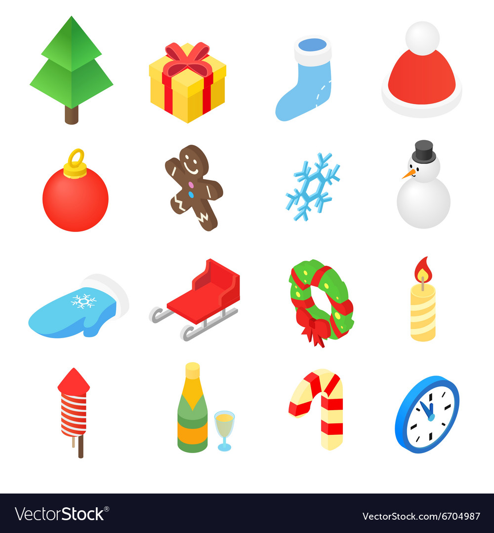 Christmas isometric 3d color icons set vector