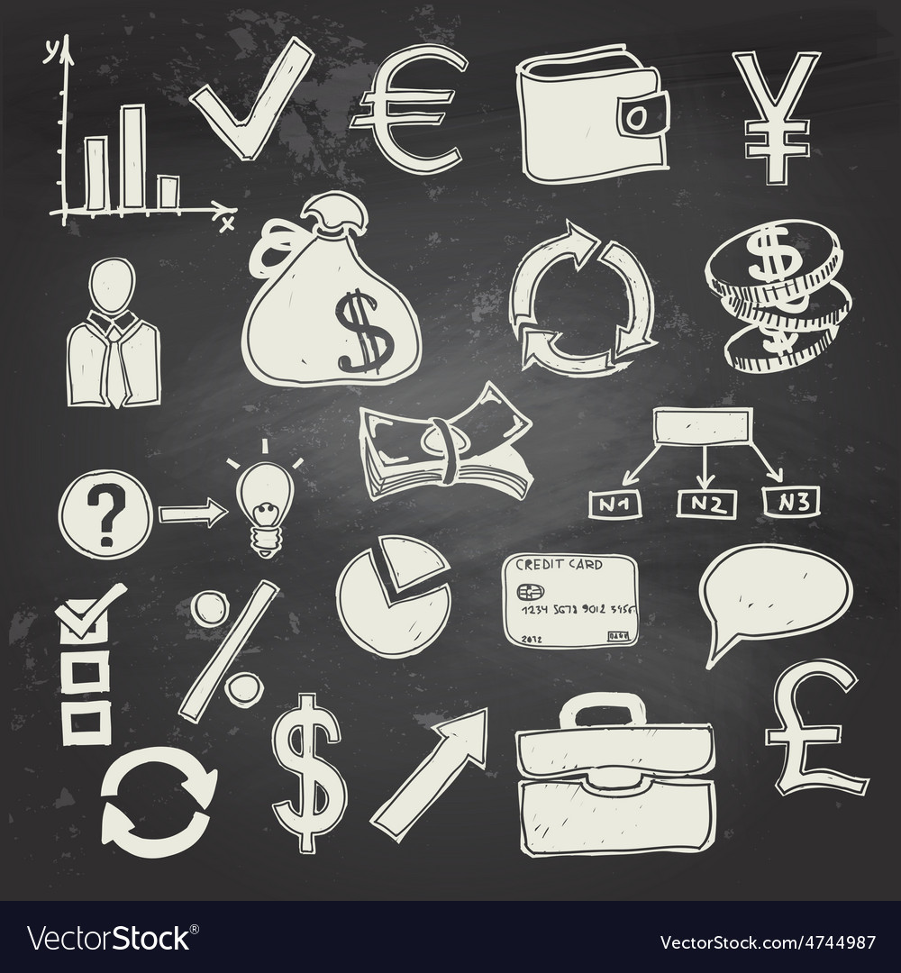 Finance and business doodle on blackboard vector