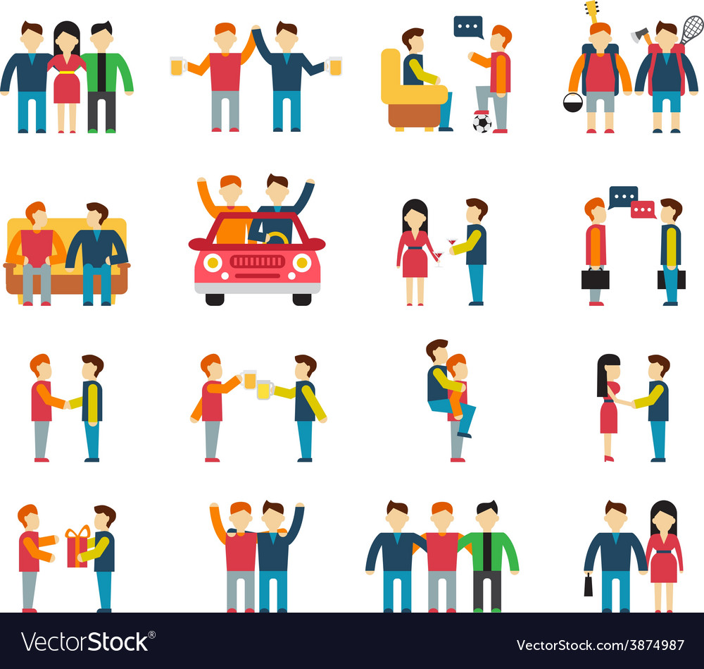 Friends and friendly relationship social team flat vector