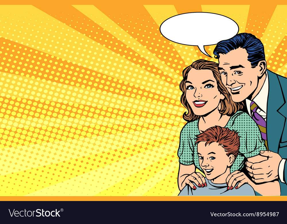Happy retro family on the poster vector