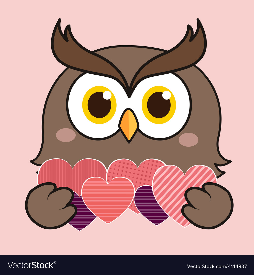 Owl heart vector