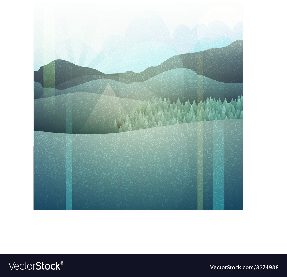 Abstract retro landscape with texture mountain vector