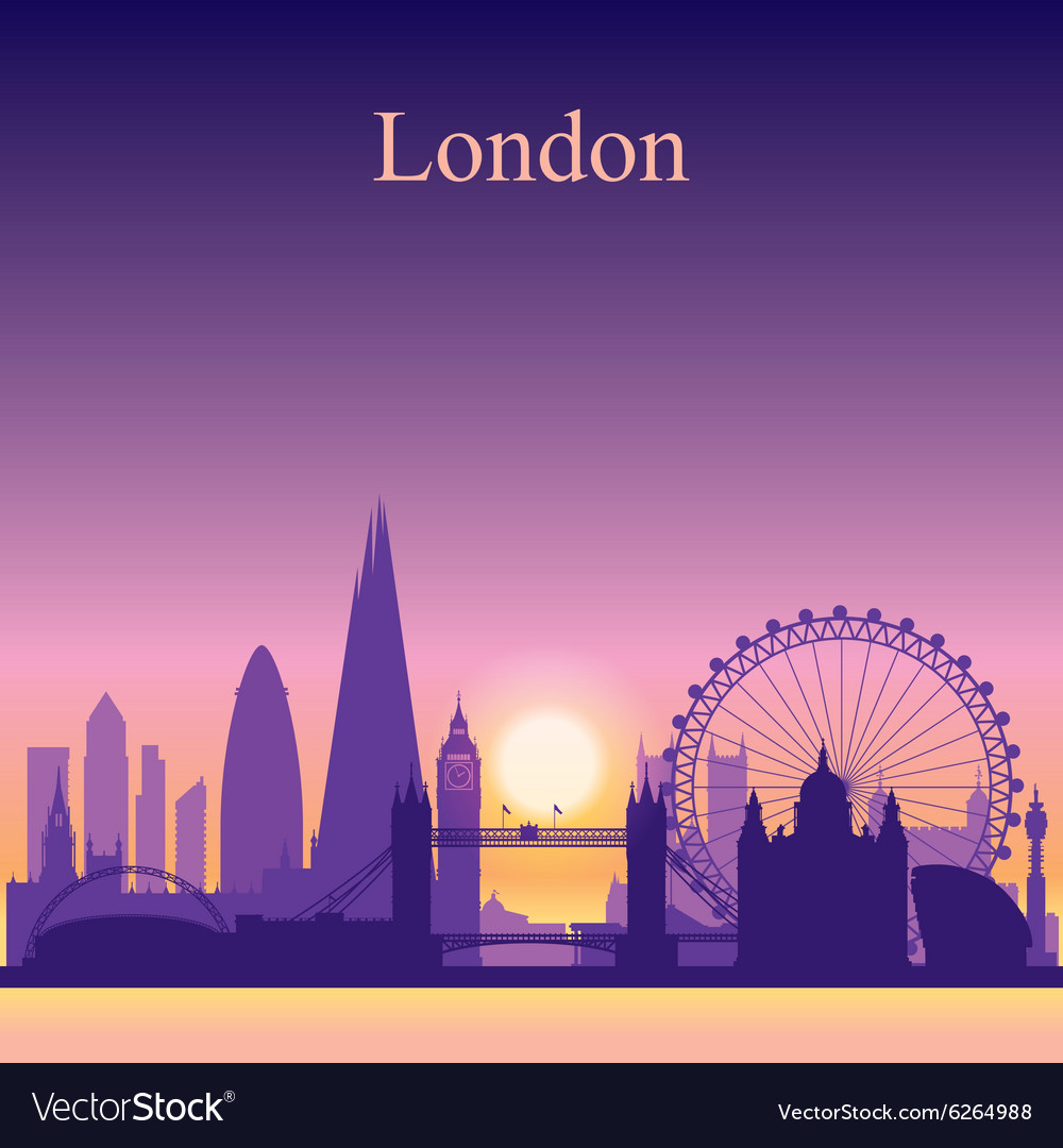 London silhouette on sunset background vector